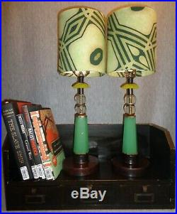 0846 G. F. Prairie School Vintage Jadeite Glass Art Deco Lamps