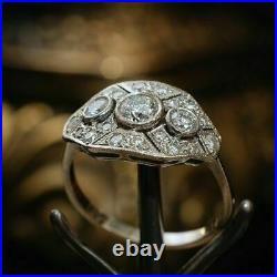 1.20 Ct Round Diamond Art Deco Vintage Engagement Ring 14K White Gold Over