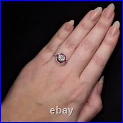 1.35ct OLD EUROPEAN CUT DIAMOND ENGAGEMENT RING RUBY PLATINUM VINTAGE ART DECO