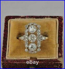 1.81CT White Round Diamond Vintage Art Deco Antique Ring 14K Yellow Gold Finish
