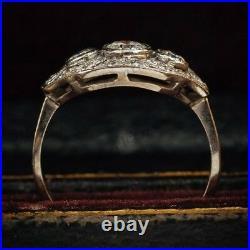 1 Ct Round Diamond Vintage Edwardian Antique Engagement Art Deco Cluster Ring