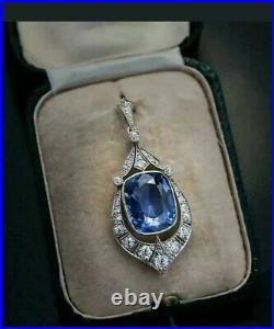 12 Ct Cushion Cut Sapphire & Diamond Vintage Art Deco Pendant 14K White Gold Fn
