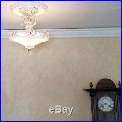 132z Vintage Antique Glass Ceiling Lamp Light Fixture chandelier 3 Lights white