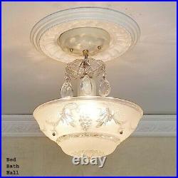 148b Vintage antique Ceiling Glass Light Chandelier Lamp Fixture Hall Bath