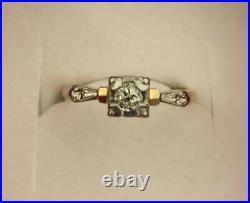 14K SOLID GOLD Rare Antique Art Deco. 22ct Solitaire Diamond Ring Sz 4.5
