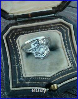 14K White Gold Over Antique Vintage Art Deco Wedding Estate Ring 1.5 Ct Diamond