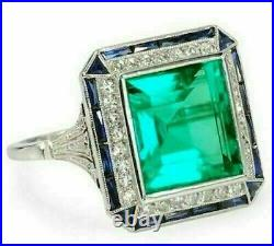 14K White Gold Over Art Deco 2.90 Ct Emerald Green Diamond Vintage Style Ring