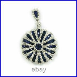 14K White Gold Over Vintage Art Deco Engagement Cluster Pendant 1.86 Ct Sapphire