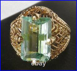 14k Gold Vintage Art Deco Style Fantasy Emerald Cut Aquamarine Filigree Ring Sz6