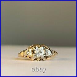 14kt 18kt White Yellow Gold. 15 Diamond Two Tone Ring Filigree Vintage Art Deco