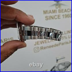 #1500 Vintage ROLEX Oyster Perpetual Date 34mm Blue Dial Diamond Steel Watch