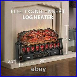 1500W 20 Electric Fireplace Logs Heater Realistic Flame Hearth Insert Wood Fire