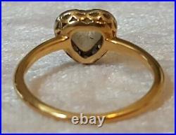 18 carat solid gold sapphire & moonstone vintage Art Deco antique heart ring N