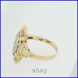 1920's Antique Art Deco 14k Yellow Gold Diamond Filigree Rose Cut Diamond Ring