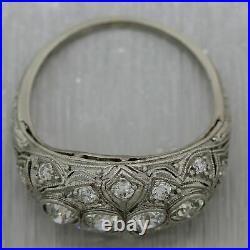 1920's Antique Art Deco Platinum 0.75ctw Diamond Filigree Ring