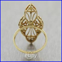 1920's Antique Art Deco Platinum & 14k Yellow Gold Diamond & Pearl Ring