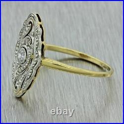 1920s Antique Art Deco Estate 14k Yellow Gold Platinum Diamond Navette Ring