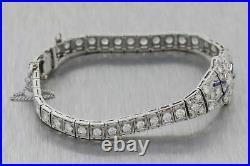 1920s Antique Art Deco Estate Platinum 5.00ctw Diamond Sapphire Bracelet E8
