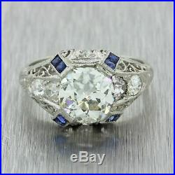 1920s Antique Art Deco Platinum 2.08ctw Old Mine Diamond Sapphire Ring GIA