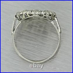 1920s Antique Art Deco Solid Platinum. 49ctw Diamond Cluster Ring EGL
