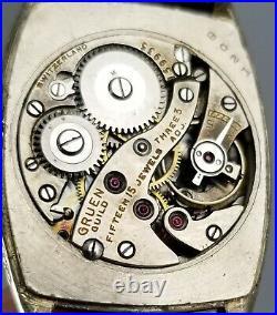 1920s VINTAGE GRUEN TONNEAU 855 MENS WRIST WATCH 14K WHITE GOLD F ART DECO