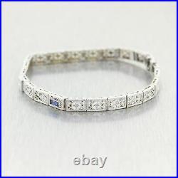 1930 Antique Art Deco 14k White Gold. 35ctw Sapphire & Diamond Filigree Bracelet