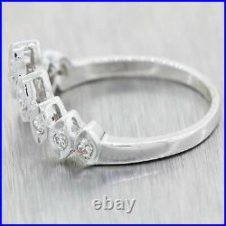 1930's Antique Art Deco 14K White Gold. 20ctw Diamond Tiara Wedding Band Ring