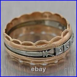 1930's Antique Art Deco 14k Rose 18k White Gold Diamond Wedding Band Ring