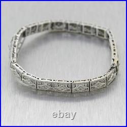 1930's Antique Art Deco 14k White Gold 0.25ctw Diamond Filigree Bracelet