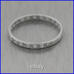 1930's Antique Art Deco 14k White Gold 0.40ctw Diamond Wedding Band Ring