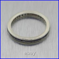 1930's Antique Art Deco 14k White Gold 1ctw Sapphire Wedding Band Ring