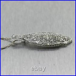 1930's Antique Art Deco 14k White Gold Filigree 18 Necklace