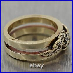 1930's Antique Art Deco 14k Yellow Gold 0.06ctw Diamond Wedding Band Ring