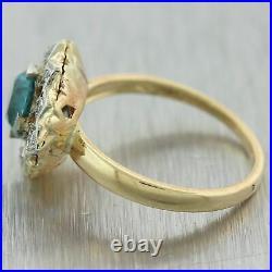 1930's Antique Art Deco 14k Yellow Gold 1.16ctw Blue Zircon & Diamond Ring