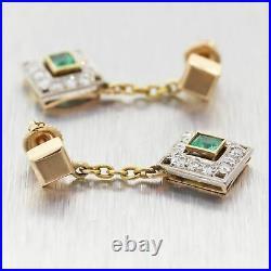 1930's Antique Art Deco 14k Yellow Gold 1.50ctw Emerald & Diamond Drop Earrings