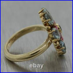 1930's Antique Art Deco 14k Yellow Gold 4ctw Aquamarine & Ruby Ring