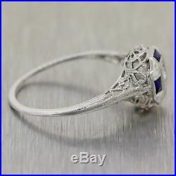 1930's Antique Art Deco 18k White Gold 0.26ctw Diamond & Sapphire Filigree Ring