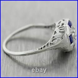 1930's Antique Art Deco 18k White Gold 0.40ctw Diamond & Sapphire Filigree Ring