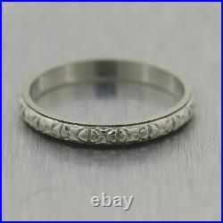 1930's Antique Art Deco 18k White Gold Engraved Wedding Band Ring