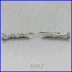 1930's Antique Art Deco Platinum 0.10ctw Diamond Dangle Drop Earrings