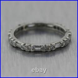1930's Antique Art Deco Platinum 0.50ctw Diamond Emerald & Baguette Cut Wedding