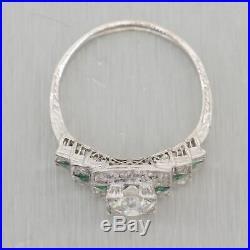 1930's Antique Art Deco Platinum 0.91ctw Diamond & Emerald Ring