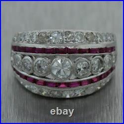1930's Antique Art Deco Platinum 2.5ctw Ruby & Diamond Band Ring