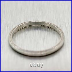 1930's Antique Art Deco Platinum Engraved Thin Wedding Band Ring