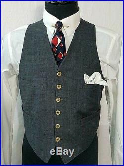 1930's Grey Window Pane 3 Piece 2x3 DB Suit Art Deco Dapper Bespoke