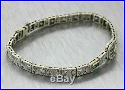 1930s Antique Art Deco 14k Solid White Gold Emerald Diamond Filigree Bracelet