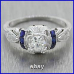 1930s Antique Art Deco 14k White Gold 0.60ctw Sapphire & Diamond Engagement Ring