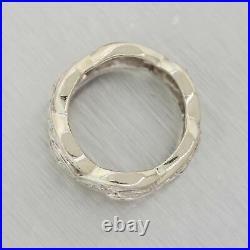 1930s Antique Art Deco 14k White Gold Diamond Filigree Band Ring