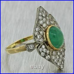 1930s Antique Art Deco 18k Solid Yellow Gold Platinum Emerald Diamond Ring