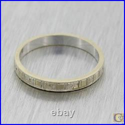 1930s Antique Art Deco 18k White Gold 2mm Etched Wedding Band Ring M8